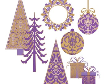 Christmas clip art, Christmas tree digital scrapbooking, clipart ornaments presents purple gold damask : h1055 3s3443