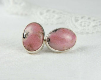 Pink Stone Earrings Large Post Earrings Artisan Earrings Natural Stone Earrings Rhodonite Earrings Artisan Jewelry