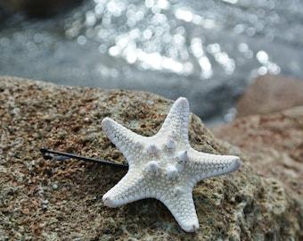 Starfish Hair Bobby Pin - White Knobby Seastar Accessory Beach Wedding Bridesmaids Hair Nautical Coastal Mermaid Customize - TheSandbar