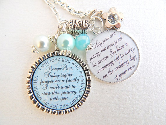 Wedding Gift To Step Daughter : Step Daughter Gift FLOWER GIRL Gift BLUE Chram Necklace I will love ...
