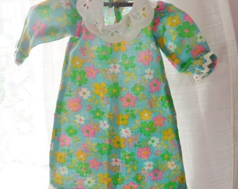 Retro Daisy Doll Dress, Handmade Hippie Style Green Pink and White Floral Dress with Lace