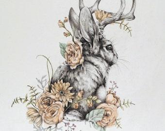 Jackalope - 11 x 14 floral jackalope rabbit art print