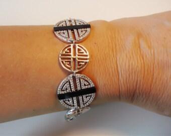 "Art Deco style Vintage women bracelet Sterling Silver size 7 1/2"" very Old Hollywood"