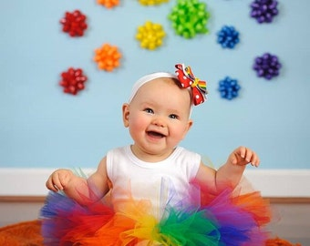 Rainbow Tutu, Baby Tutu and headband, Circus tutu, Prop Tutu, circus tutu Halloween clown, rainbow Birthday Tutu, rainbow birthday tutu