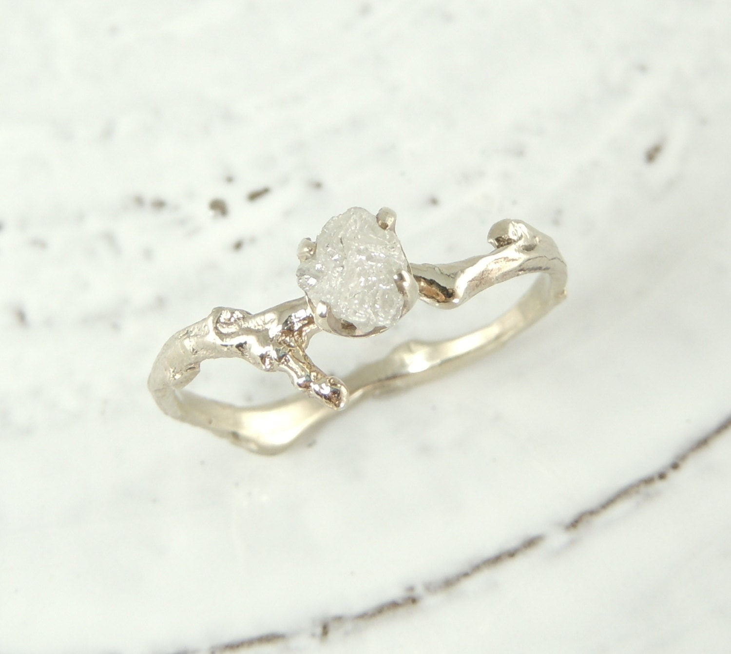 uncut diamond branch engagement ring by pointnopointstudio