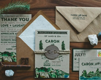 Rustic Woodland Water Color Wedding Invitation : Land and Sea, Big Sur Inspired