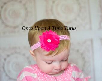 Bright Pink Shabby Rosette Flower Chevron Headband - Photo Prop Hairbow - Modern Trendy Hair Bow - Newborn Baby Toddler Girl