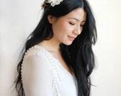 Bridal Floral Crown, White Flower Bridal Hairpiece, Woodland Flower Crown Off White Silk