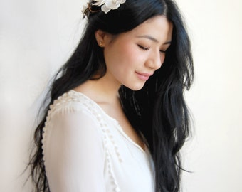Bridal Floral Crown, White Flower Bridal Hairpiece, Woodland Flower Crown Off White Silk