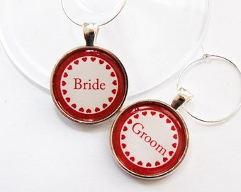 Wedding Wine Charms, Wine Charms, Bride, Groom, barware, wedding charms, wedding reception, heart, wedding, you select color (3347)