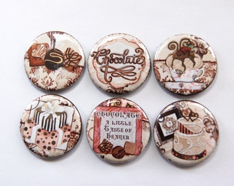 Chocolate Magnets, Food Magnets, magnet, button magnet, Fridge Magnet, Kitchen Magnet, chocolate, loves chocolate, stocking stuffer (3351)