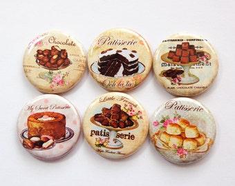 Food Magnets, Magnet Set, Cake Magnet, Chocolate Magnets, button magnets, Kitchen Magnets, Dessert Magnets, Ceramic Magnets (3759)