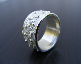 15% Off Sale.S136 Made to Order...New Sterling Silver Intricate Wide Band Ring