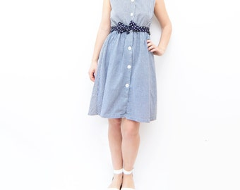 Vintage girly navy blue baby doll pepita dress