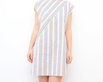 Vintage rainbow striped 80s summer dress / beach dress