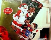 Felt Christmas Stocking Kit UNOPENED Beads Sequins 16 inch Bucilla Christmas Stocking