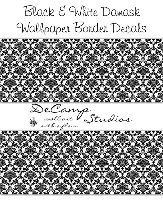 damask wallpaper border black wall decals baby paris girl