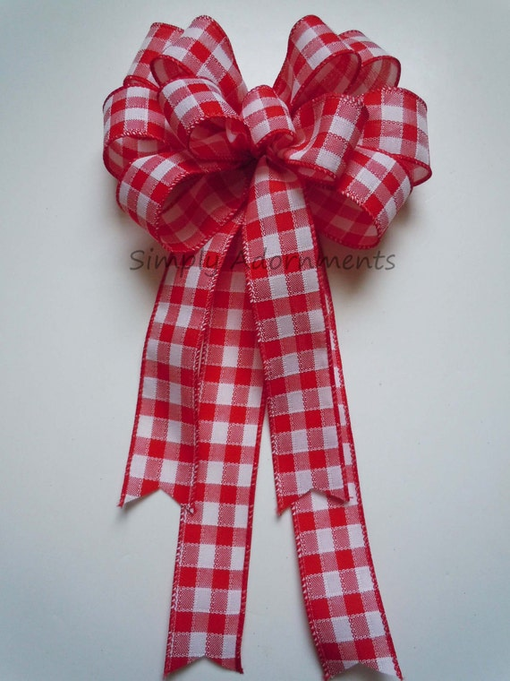 Red White Check Christmas Bow Red Country Plaid Wedding Aisle Bow Woodland Wreath Bow Red Check Door Hanger Bow Birthday Shower Party Decor