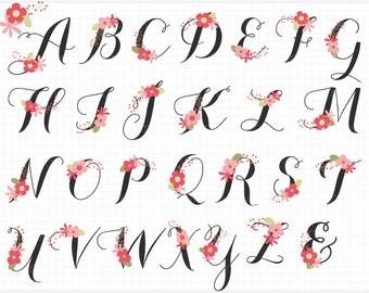 Floral Alphabet, Monogram, letters, Wedding, Flowers - vector graphics, digital clip art, digital images, commercial use clipart