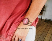 Pink Rhodonite in Copper Statement Bracelet Cuff