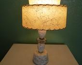 Mid Century Modern Lamp, Atomic Lamp, Fiberglass Shade, Two Tier Fiberglass Shade,Eames, Mid Mod Lamp,Vanity Lamp - VintageCocobytheLake