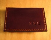 Card Case, Leather business card holder personalized  / Mini Wallet, Chocolate