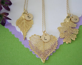 3 Bridesmaid Gold Leaf Necklaces Gold Leaf Personalized, Bridesmaid Gifts, Birthstone, Small Real Leaf Necklace, Initial Gold Filled Charm