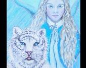 Original 8 x 10 Child Angel Painting Inspirational, White Tiger, Children's Decor, Nursery room, Blue, Earth Angel,Winter, Nature, Wildlife