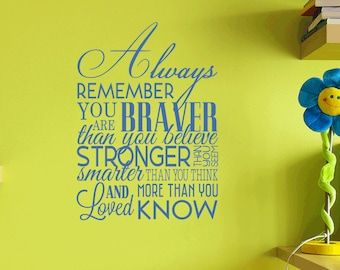 Always Remember Removable Wall Vinyl inspirational quotes wall art sticker braver stronger loved smarter confidence quote wall decal