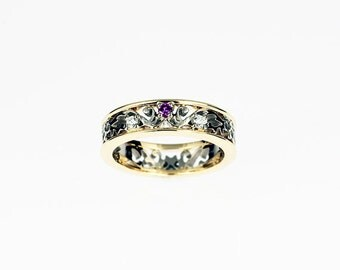 Amethyst engagement ring, filigree ring, white gold, yellow gold, diamond wedding ring, filigree wedding, purple ring, amethyst, lace ring