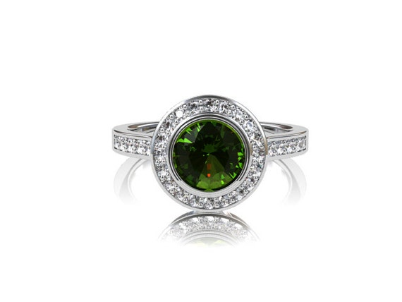 peridot halo engagement ring ring by torkkelijewellery
