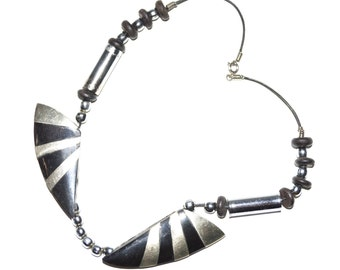 Unique Vintage Black & Silver Shapes Necklace