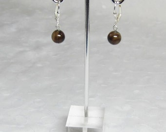 Black Brown Agate Earrings Beaded Fall Autumn Jewelry