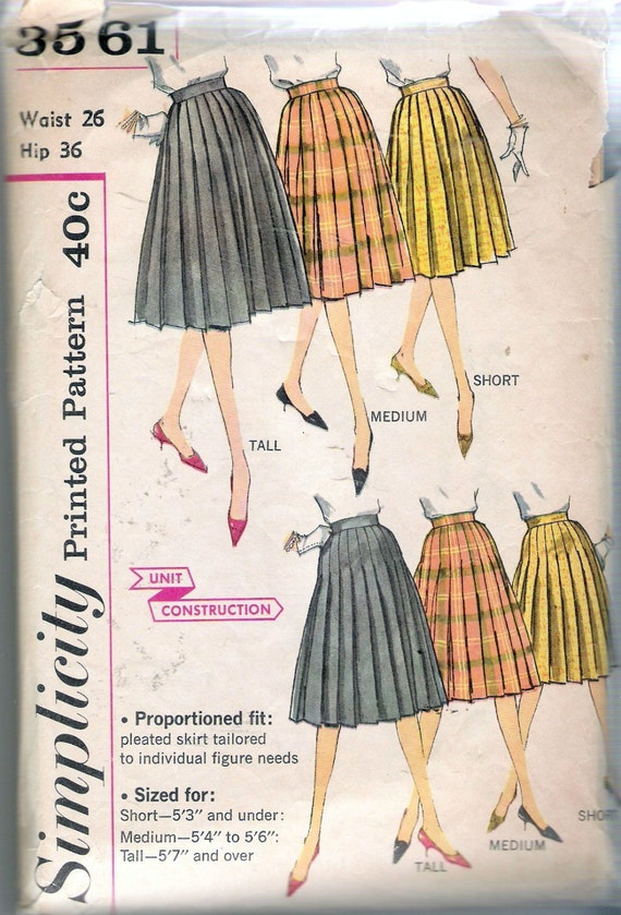 vintage 1960 s simplicity 3561 pleated skirt sewing