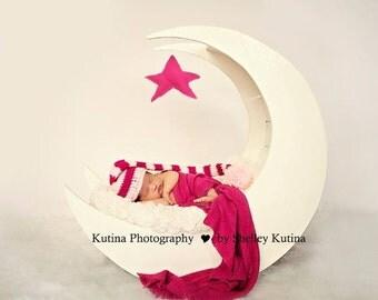Pink Night cap Beanie, Pink Beanie, Pink Hat, Pink Elf Hat, Pink Elf Beanie, Pink PomPom Beanie, Pink PomPom Hat, baby shower gift