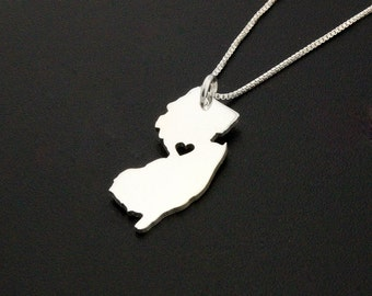 New Jersey necklace engraveable personalize New Jersey state necklace sterling silver state necklace with heart - Hometown Gift