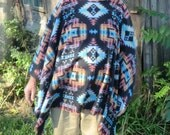 Black Aztec Print Polar Fleece Poncho  Clint Eastwood Style Native American