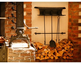 Kitchen art poster, firewood, fire irons, brown Large wall art photography print, 12x18, 16x24, 20x30, rustic home decor