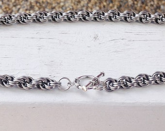 Chainmaille necklace stainless steel double twist