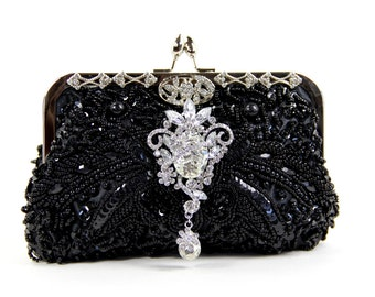 Black Beaded Evening Bag- Black Beaded Clutch - Gorgeous Black beaded wedding purse, Evening Bag - Black Purse