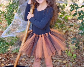 Black and orange witch tutu and mini hat headband.