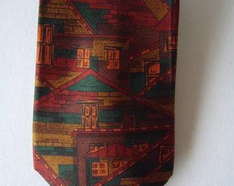 Henry Grethel Silk Necktie Woven In Italy, Vintage 1980s Designer Business, Wedding