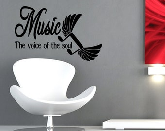 Music is the Voice of the Soul Inspirational Quote Wall Decal Sticker Vinyl Decal (Z9)