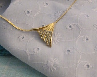 """Necklace, Gold and Rhinestones, Dazzling Fan Shaped Pendant attached to Box Link 16"""" Chain ~ BreezyTownship.etsy.com NK008"""