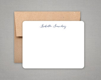 Personalized Stationery - Flat Notes with Calligraphy Style Lettering and Kraft Envelopes - Personalized Stationary