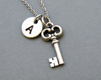 Small Key necklace, antique key necklace, initial necklace, initial hand stamped, personalized, antique silver, monogram