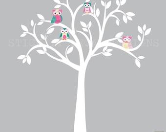 Owl decal, Owl tree wall sticker, Blue Owl Decals, owl wall decal, nursery owl decor, Large Zoe Owl Tree Design with White Tree