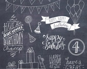 CLIP ART: Birthday Photoshop Overlays // Layered psd // Vector eps // Happy Birthday Overlay DIY Card // Girl Boy Party // Commercial Use