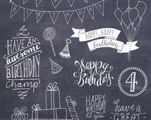 Birthday Photoshop Overlays // Layered PSD // Vector EPS // Happy Birthday Overlay DIY Card // Brush // Girl Boy Party // Commercial Use
