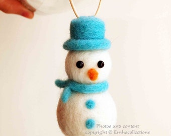Black Friday Cyber Monday Christmas Ornaments Needle Felted Snowman Ornament - Christmas Tree Ornament - Ornament - Ready To Ship